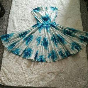 Anthropologie Dresses - Anthropologie blue flowers circular dress